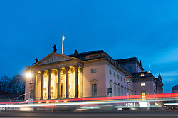 Evening view of Berlin Staatsoper (opera house) Berlin State Opera, on Unter Den Linden  in Mitte, Berlin, Germany