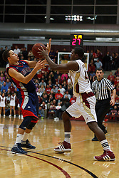 Jan 21, 2012; Santa Clara CA, USA;  St. Mary's Gaels guard Jorden Page (left) and Santa Clara Broncos forward Raymond Cowels III (right) fight for a loose ball during the first half at the Leavey Center.  St. Mary's defeated Santa Clara 93-77. Mandatory Credit: Jason O. Watson-US PRESSWIRE