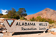 BLM sign at the entrance to the Alabama Hills, Lone Pine, California USA