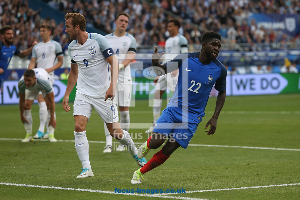 Samuel Umtiti of France celebrates scoring his sides 1st goal during the International Friendly match at Stade de France, Paris<br /> Picture by Paul Chesterton/Focus Images Ltd +44 7904 640267<br /> 13/06/2017