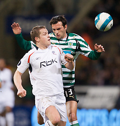 BOLTON, ENGLAND - Thursday, March 6, 2008: Bolton Wanderers' Heidar Helguson and Sporting Clube de Portugal's Tonel during the UEFA Cup Round of 16 1st Leg match at the Reebok Stadium. (Pic by David Rawcliffe/Propaganda)