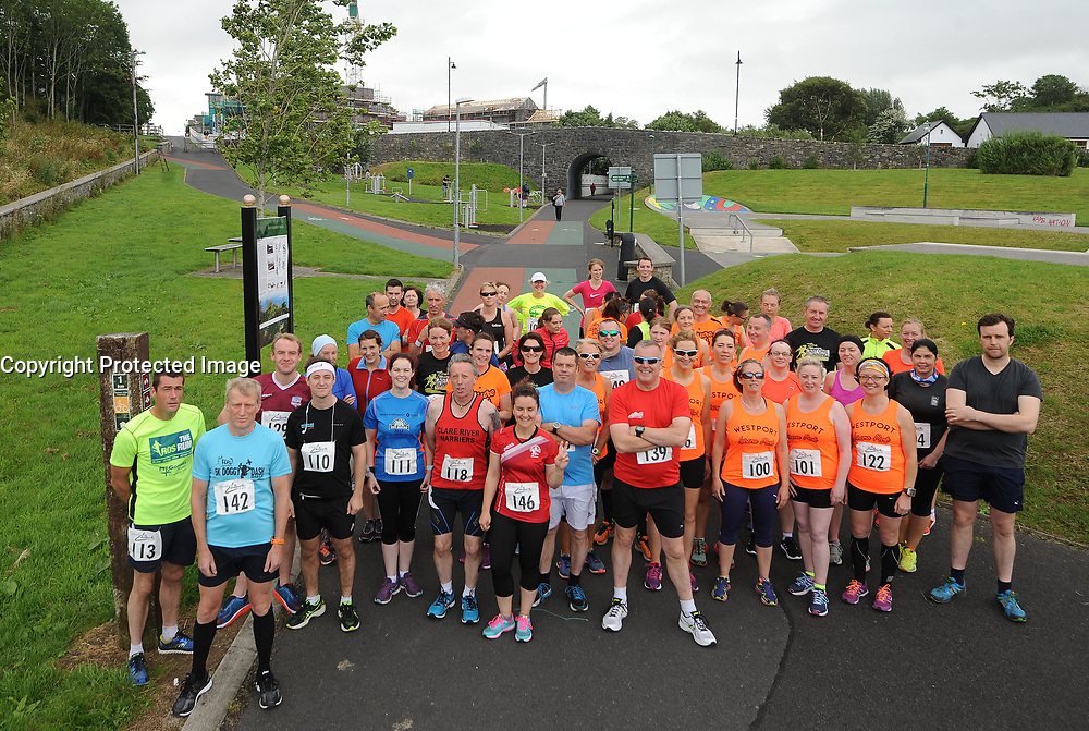 'Lined Up and Ready 'at the start Westport Leisure Park's 'Last Man Running' which took place on the Westport greenway on saturday last<br />