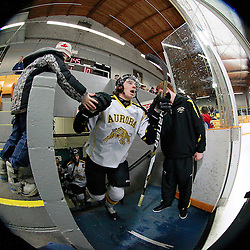 AURORA, ON - Feb 21 : Ontario Junior Hockey League Game Action between the Buffalo Jr. Sabres and the Aurora Tigers, Alex Gilmour #11 of the Aurora Tigers Hockey Club.<br /> (Photo by Brian Watts / OJHL Images)
