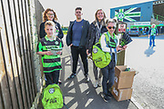 Programme sellers with CEO Helen Taylor during the EFL Sky Bet League 2 match between Forest Green Rovers and Morecambe at the New Lawn, Forest Green, United Kingdom on 28 October 2017. Photo by Shane Healey.