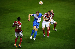 Bristol Rovers Forward Ryan Brunt (ENG) and Bristol City Defender Nicky Shorey (ENG) compete in the air during the second half of the match - Photo mandatory by-line: Rogan Thomson/JMP - Tel: 07966 386802 - 04/09/2013 - SPORT - FOOTBALL - Ashton Gate, Bristol - Bristol City v Bristol Rovers - Johnstone's Paint Trophy - First Round - Bristol Derby
