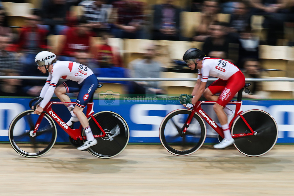 March 1, 2019 - Pruszkow, Poland - Wojciech Pszczolarski (POL), Mark Stewart (GBR) compete during the Men's Points Race at the UCI Track Cycling World Championships in Pruszkow on March 1, 2019. (Credit Image: © Foto Olimpik/NurPhoto via ZUMA Press)