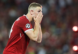 Jordan Henderson of Liverpool reacts during the UEFA Champions League final football match between Liverpool and Real Madrid at the Olympic Stadium in Kiev, Ukraine on May 26, 2018. Photo by Andriy Yurchak / Sportida