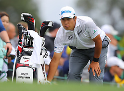 April 7, 2018 - Augusta, GA, USA - Hideki Matsuyama prepares to hit from the 1st tee during the third round of the Masters Tournament on Saturday, April 7, 2018, at Augusta National Golf Club in Augusta, Ga. (Credit Image: © Curtis Compton/TNS via ZUMA Wire)