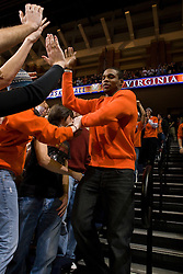 Former Virginia guard Sean Singletary is welcomed by the student body before the UNC game.  The the #5 ranked North Carolina Tar Heels defeated the Virginia Cavaliers 83-61 in NCAA Basketball at the John Paul Jones Arena on the Grounds of the University of Virginia in Charlottesville, VA on January 15, 2009.
