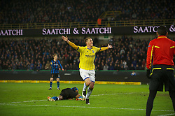 20.10.2011, Jan-Breydel Stadion, Bruegge, BEL, UEFA EL, Gruppe H, FC Bruegge (BEL) vs Birmingham City (ENG), im Bild  Birmingham City's Chris Wood celebrates celebrates scoring the second goal against Club Brugge to win the game 2-1 deep into 10 minutes of injury time during the UEFA Europa League Group H match at the Jan Breydelstadion.  // during UEFA Europa League group H match between FC Bruegge (BEL) vs Birmingham City (ENG), at Jan-Breydel Stadium, Brugge, Belgium on 20/10/2011. EXPA Pictures © 2011, PhotoCredit: EXPA/ Propaganda Photo/ David Rawcliff +++++ ATTENTION - OUT OF ENGLAND/GBR+++++