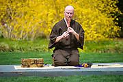 Stan Kakudo Richardson plays the shakuhachi during Hanami: Cherry Blossom Viewing and Japanese Music at the Arboretum in Dallas on Sunday, March 17, 2013. (Cooper Neill/The Dallas Morning News)