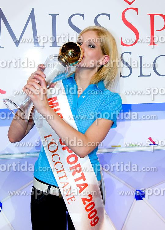 Winner Ajda Sitar at event Miss Sports of Slovenia, on April 18, 2009, in Festivalna dvorana, Ljubljana, Slovenia. (Photo by Ales Oblak / Sportida)