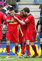 Photo: Steve Bond/Richard Lane Photography. <br />Leicester City v Colchester United. Coca Cola Championship. 12/04/2008. Kevin Lisbie (C) is congratulated