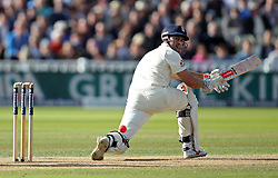 England's Alastair Cook clips for 4 during day two of the First Investec Test match at Edgbaston, Birmingham.