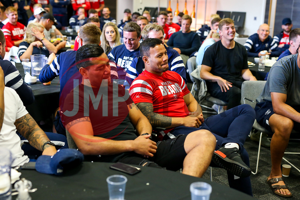 The Bristol Bears squad gather to make presentations to departing players after the Bristol Bears Team Run ahead of the Sale Sharks Game - Rogan/JMP - 02/05/2019 - RUGBY UNION - Ashton Gate Stadium - Bristol, England - Bristol Bears v Sale Sharks - Gallagher Premiership Rugby.