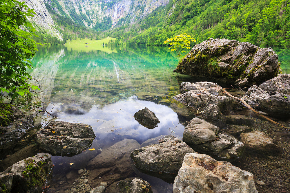 The Obersee at Berchtesgaden National Park. Upper Bavaria. Germany.