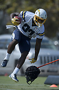 Aug 14, 2019; Costa Mesa, CA, USA: Los Angeles Chargers running back Derrick Gore (37) carries the ball during training camp at the Jack Hammett Sports Complex.