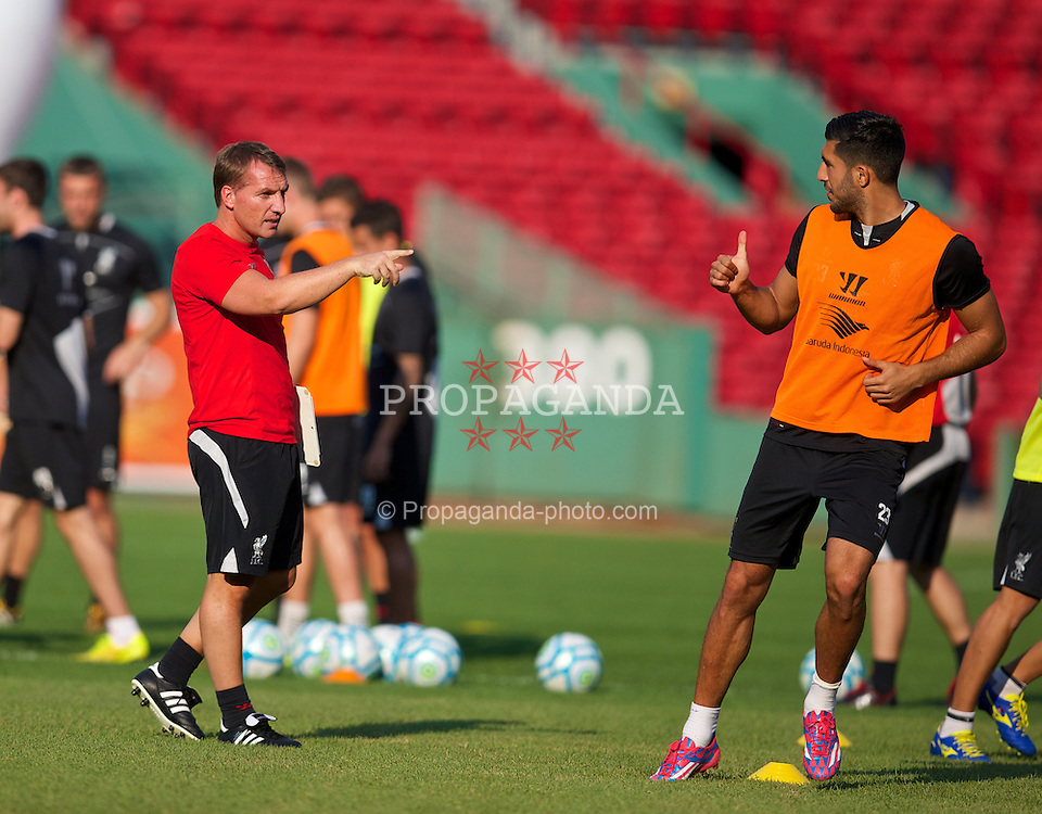 BOSTON, USA - Tuesday, July 22, 2014: Liverpool's manager Brendan Rodgers and Emre Can during a training session at Fenway Park in Boston on two one of the club's USA Tour. (Pic by David Rawcliffe/Propaganda)