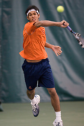 #1 ranked Somdev Devvarman hits a forehand.  The #1 ranked Virginia Cavaliers men's tennis team defeated the #5 ranked Texas Longhorns 5-2 at the Boyd Tinsley Courts at the Boar's Head Inn and Resort in Charlottesville, VA on February 29, 2008.