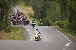 The peloton rides on the undulating Stage 1 of the Ladies Tour of Norway - a 101.5 km road race, between Halden and Mysen on August 18, 2017, in Ostfold, Norway. (Photo by Balint Hamvas/Velofocus.com)