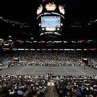 A general view of the tennis court during the PowerShares Tennis Series event at the Amway Center on January 5, 2017 in Orlando, Florida. (Alex Menendez via AP)