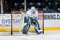 KELOWNA, CANADA - DECEMBER 7: Rylan Toth #31 of the Seattle Thunderbirds stands in net against the Kelowna Rockets on December 7, 2016 at Prospera Place in Kelowna, British Columbia, Canada.  (Photo by Marissa Baecker/Shoot the Breeze)  *** Local Caption ***