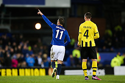 Everton's Kevin Mirallas celebrates after scoring his sides third goal   - Photo mandatory by-line: Matt McNulty/JMP - Mobile: 07966 386802 - 26/02/2015 - SPORT - Football - Liverpool - Goodison Park - Everton v Young Boys - UEFA EUROPA LEAGUE ROUND OF 32 SECOND LEG