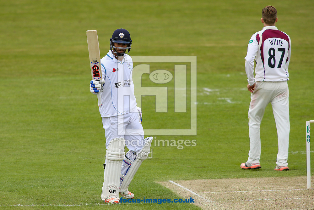 Shiv Thakor of Derbyshire CCC acknowledges the applause on reaching his half-century during the Specsavers County C'ship Div Two match at the County Ground, Northampton<br /> Picture by Andy Kearns/Focus Images Ltd 0781 864 4264<br /> 01/05/2016