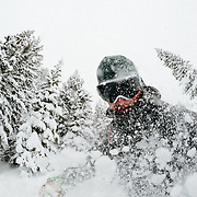 Jay Goodrich makes blower powder turns in the Teton backcountry near Jackson Hole Mountain Resort in Teton Village, Wyoming.