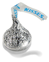 hersheys chocolate kiss photographed on a white background