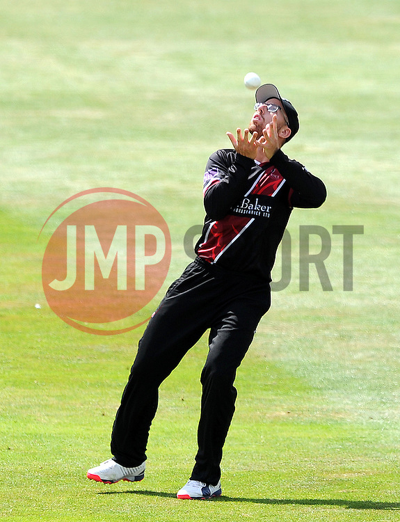 Somerset's Jack Leach takes a catch to dismiss Worcestershire's Tom Fell - Photo mandatory by-line: Harry Trump/JMP - Mobile: 07966 386802 - 31/07/15 - SPORT - CRICKET - Somerset v Worcestershire- Royal London One Day Cup - The County Ground, Taunton, England.