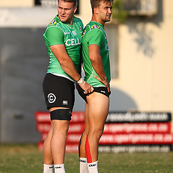 Wian Vosloo of the Cell C Sharks with Jeremy Ward of the Cell C Sharks during the Cell C Sharks training, Jonsson Kings Park Stadium,Durban South Africa.27,06,2018 Photo by (Steve Haag REX Shutterstock )
