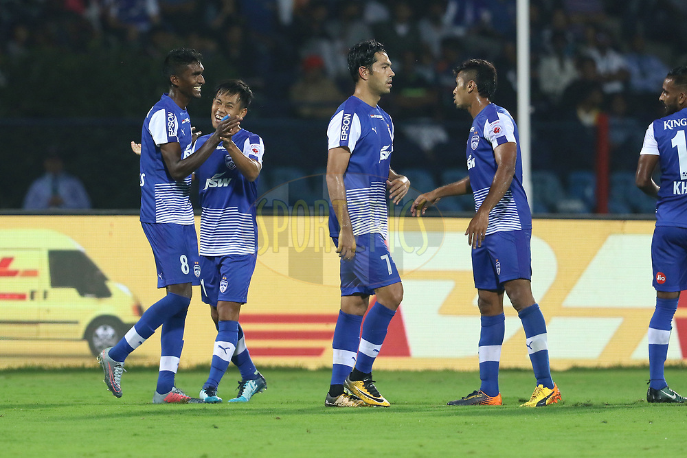 Bengaluru FC players celebrates a goal during match 10 of the Hero Indian Super League between Bengaluru FC and Delhi Dynamos FC held at the Sree Kanteerava Stadium, Bangalore, India on the 26th November 2017<br /> <br /> Photo by: Vipin Pawar  / ISL / SPORTZPICS