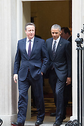 Downing Sreet, London, April 22nd 2016. United States President Barak Obama arrives at 10 Downing Street to meet with British Prime Minister David Cameron. &copy;Paul Davey<br /> FOR LICENCING CONTACT: Paul Davey +44 (0) 7966 016 296 paul@pauldaveycreative.co.uk