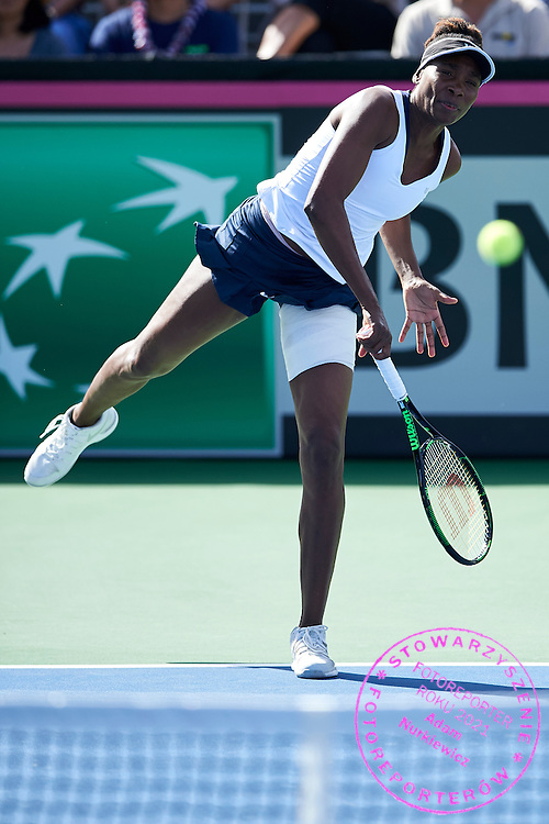 KAILUA KONA, USA - 2016 FEBRUARY 07: Venus Williams of USA competes at women's singles during the Fed Cup World Group II 1st round tennis match between USA and Poland on February 07, 2016 at Holua Tennis Center in Kailua Kona, USA.<br /> <br /> Picture also available in RAW (NEF) or TIFF format on special request.<br /> <br /> Any editorial, commercial or promotional use requires written permission from the author of image.<br /> <br /> Adam Nurkiewicz declares that he has no rights to the image of people at the photographs of his authorship.<br /> <br /> Mandatory credit:<br /> Photo by &copy; Adam Nurkiewicz / Mediasport