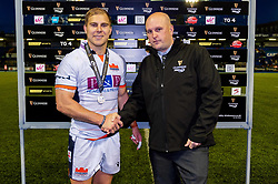 Jaco van der Walt of Edinburgh Rugby receives the man of the match award after the final whistle of the match - Mandatory by-line: Ryan Hiscott/JMP - 05/10/2019 - RUGBY - Cardiff Arms Park - Cardiff, Wales - Cardiff Blues v Edinburgh Rugby - Guinness Pro 14