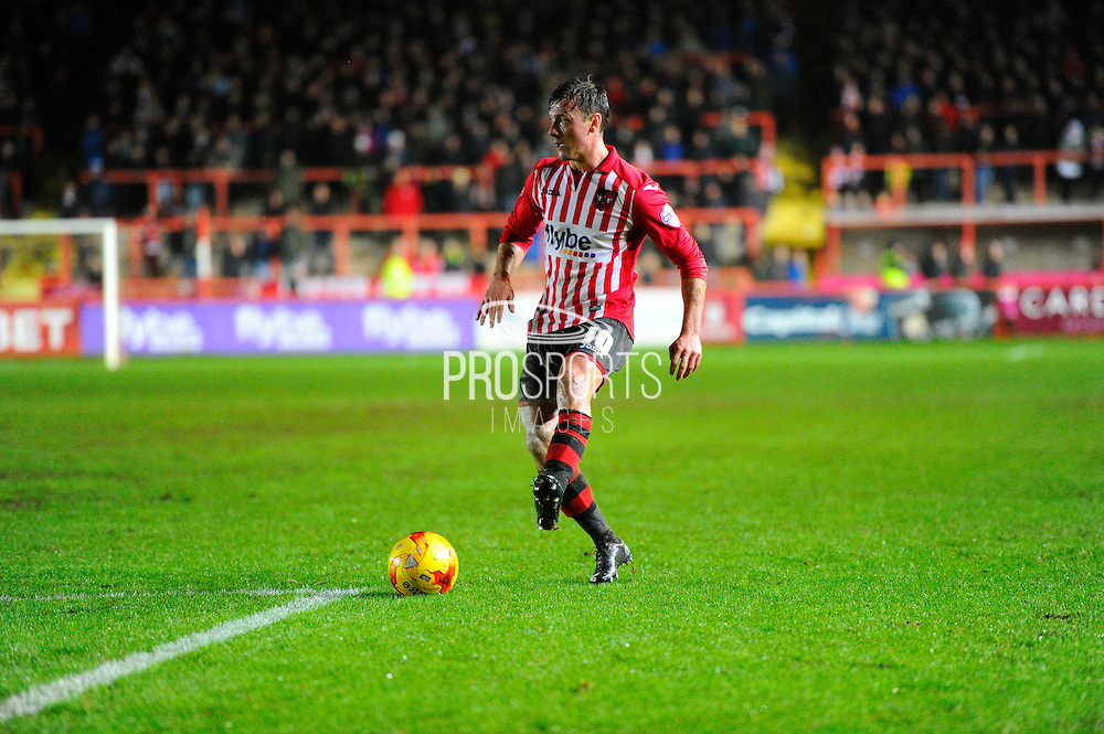 Exeter City's Lee Holmes during the Sky Bet League 2 match between Exeter City and Dagenham and Redbridge at St James' Park, Exeter, England on 2 January 2016. Photo by Graham Hunt.