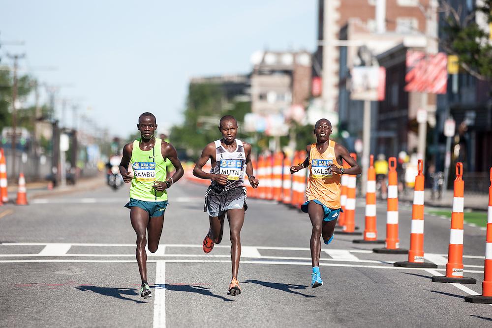 Boston Athletic Association 10K road race: past halfway race led by Geoffrey Mutai, Stephen Sambu and Daniel Salel