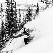 Andrew Whiteford making powder turns in the Teton Backcountry.