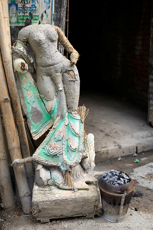 Asia, India, Calcutta. Clay sculptures at the potter's village of Kumartuli in Calcutta.
