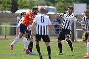 Luton Town Alex Lawless with an attempt at goal during the Pre-Season Friendly match between Peacehaven & Telscombe and Luton Town at the Peacehaven Football Club, Peacehaven, United Kingdom on 18 July 2015. Photo by Phil Duncan.