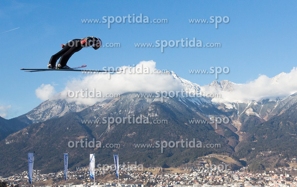 03.01.2017, Bergiselschanze, Innsbruck, AUT, FIS Weltcup Ski Sprung, Vierschanzentournee, Innsbruck, Training, im Bild Sevoie Vincent Descombes (FRA) // Sevoie Vincent Descombes of France during his Practice Jump for the Four Hills Tournament of FIS Ski Jumping World Cup at the Bergiselschanze in Innsbruck, Austria on 2017/01/03. EXPA Pictures © 2017, PhotoCredit: EXPA/ Jakob Gruber
