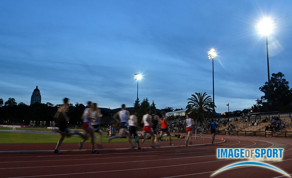 May 2, 2019; Stanford, CA, USA; General overall view of a 1,500m heat with Hoover Tower as a backdrop during the 24th Payton Jordan Invitational at Cobb Track & Angell Field.