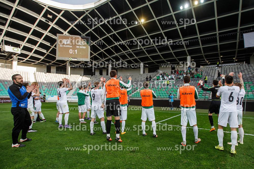 Players of NK Krsko during football match between NK Olimpija Ljubljana and NK Krsko, 31th Round of Prva Liga Telekom Slovenije 2015/16, on April 23, 2016, in Sports park Domzale, Domzale, Slovenia. (Photo by Grega Valancic / Sportida)