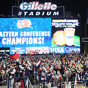 New England Revolution fans celebrate their sides victory after the New England Revolution Vs New York Red Bulls, MLS Eastern Conference Final, second leg. Gillette Stadium, Foxborough, Massachusetts, USA. 29th November 2014. Photo Tim Clayton