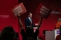 © Licensed to London News Pictures . 23/09/2019. Brighton, UK. Shadow Brexit Secretary KEIR STARMER delivers his conference speech at the end of the third day of the 2019 Labour Party Conference at the Brighton Centre . Photo credit: Joel Goodman/LNP