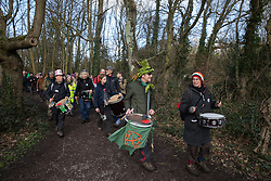 Uxbridge, UK. 1 February, 2020. Environmental activists from Stop HS2, Save the Colne Valley and Extinction Rebellion campaigning against the controversial HS2 high-speed rail link take part in a 'Still Standing for the Trees' march from the Harvil Road wildlife protection camp in Harefield through Denham Country Park to three addresses closely linked to Boris Johnson in his Uxbridge constituency. The Prime Minister is expected to make a decision imminently as to whether to proceed with the high-speed rail line.