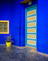 MARRAKESH, MOROCCO - CIRCA APRIL 2017: Picturesque doors and colors at the Jardin Majorelle in Marrakech