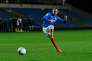 Brandon Haunstrup (38) of Portsmouth scores a penalty during the shoot out at full time during the Leasing.com EFL Trophy match between Oxford United and Portsmouth at the Kassam Stadium, Oxford, England on 8 October 2019.