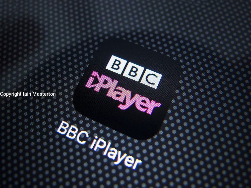 Icon of  BBC iPlayer catchup TV streaming service on iPhone 6 Plus smart phone